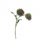 wholesale Artificial Flowers: Thistle branch, 2 flowers, length 56cm, purple